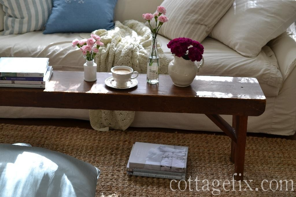 Cottage Fix blog - white sofa and farmhouse bench