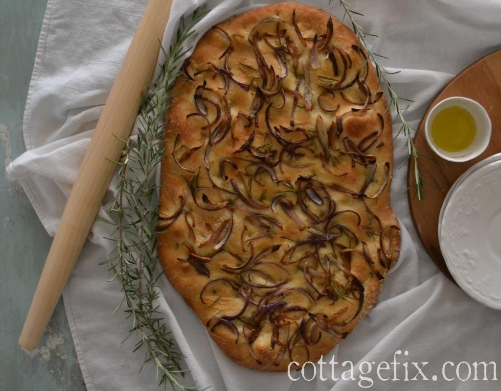 Cottage Fix blog - rosemary and onion focaccia bread recipe