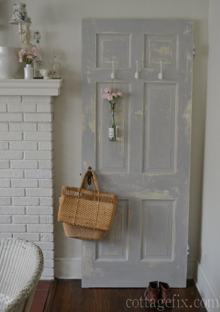 Cottage Fix blog - shabby door with Parisian Gray chalk paint