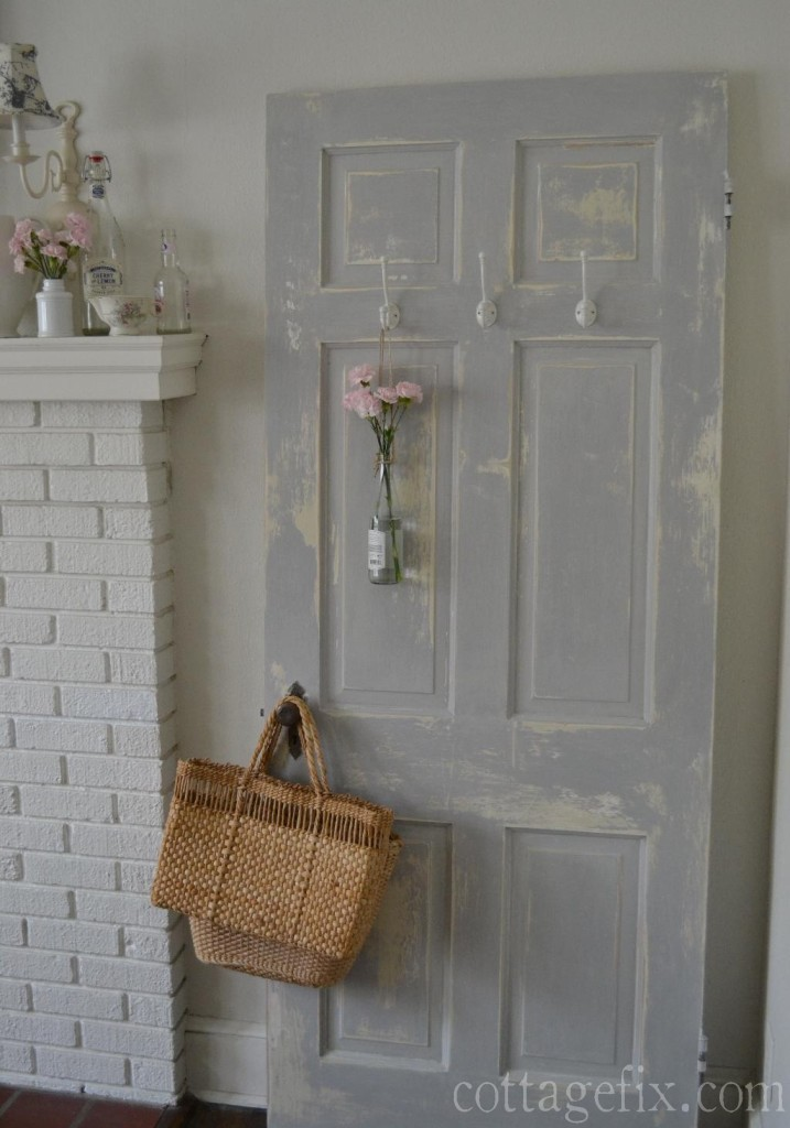 Cottage Fix blog - chippy gray door and pink flowers