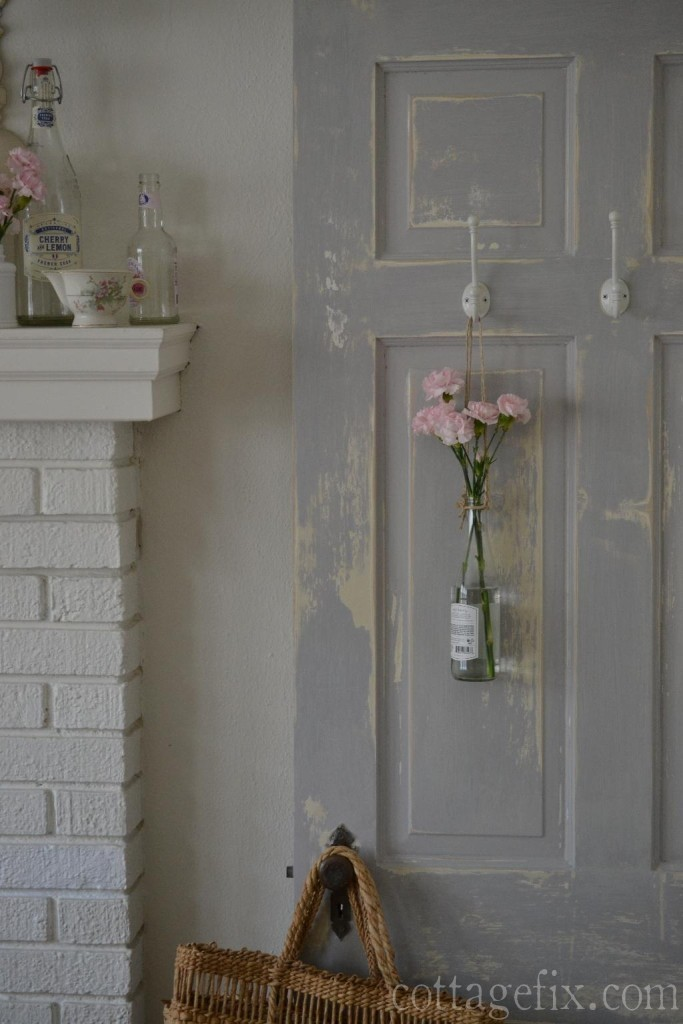 Cottage Fix blog - gray chippy door and pink flowers