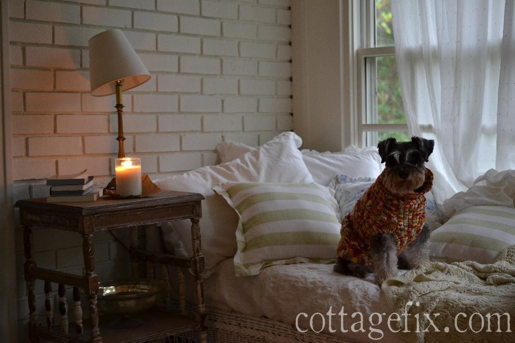 Cottage Fix blog - Miss Paisley in her fall crochet sweater