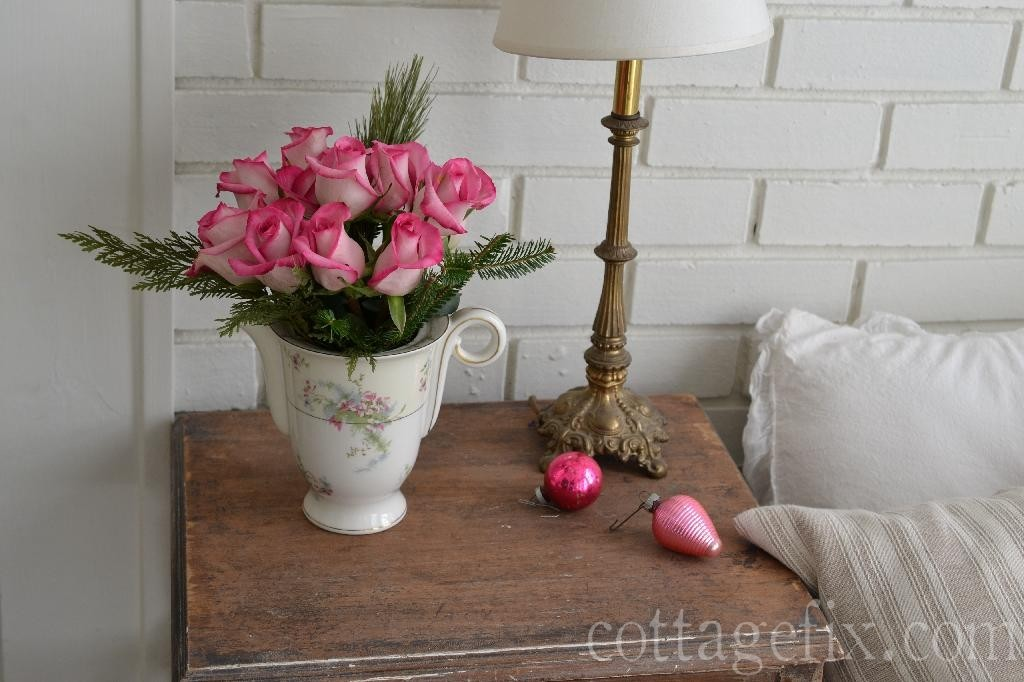Cottage Fix blog - pink roses for Christmas