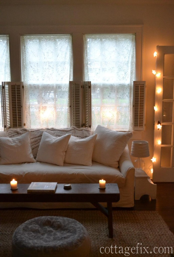 Cottage Fix blog - living room with whites and bright stary lights