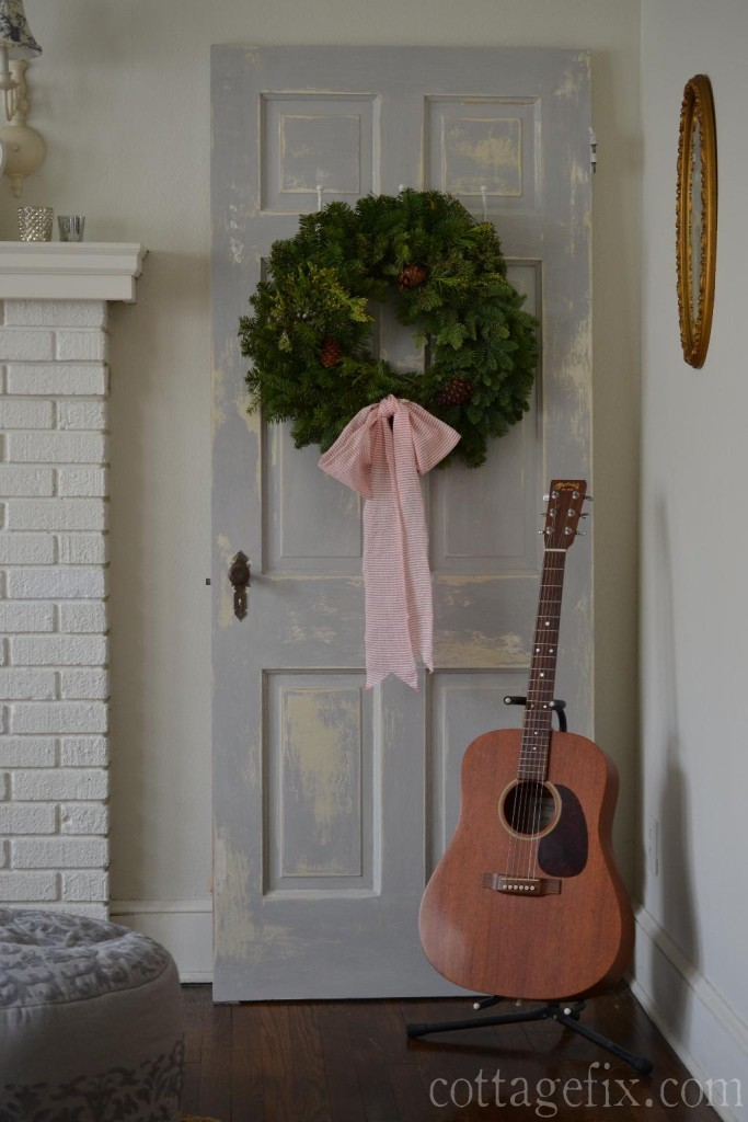 Cottage Fix blog - fresh wreath with a bow made out of torn fabric