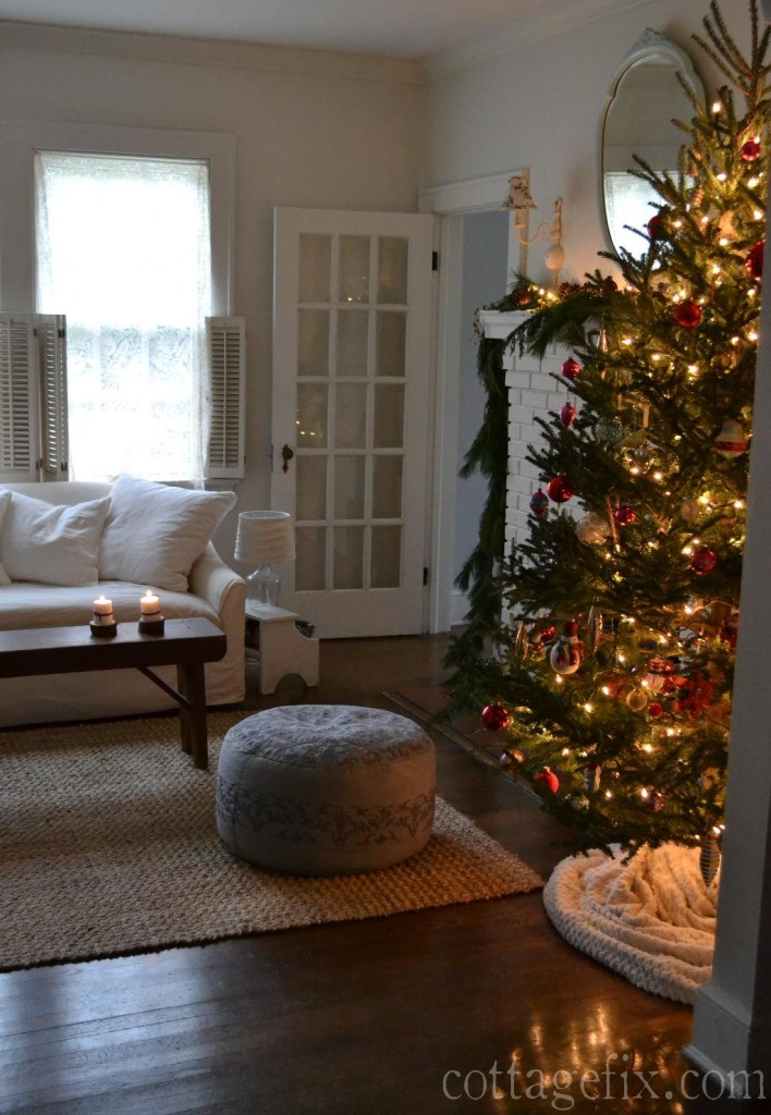 Cottage Fix blog - Christmas tree with twinkling lights and colorful baubles