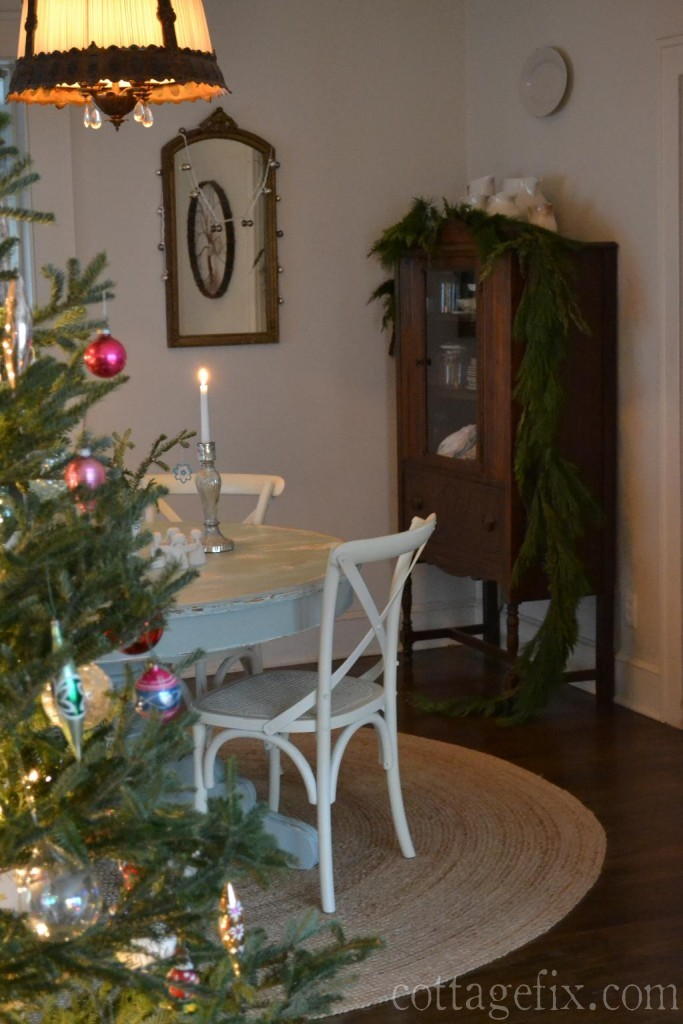 Cottage Fix blog - candlelight and greenery in the dining room