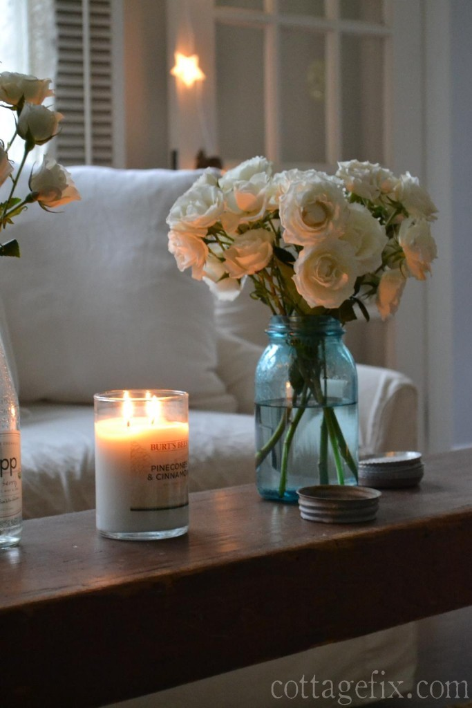 Cottage Fix blog - Burt's Bee scented candle and white roses