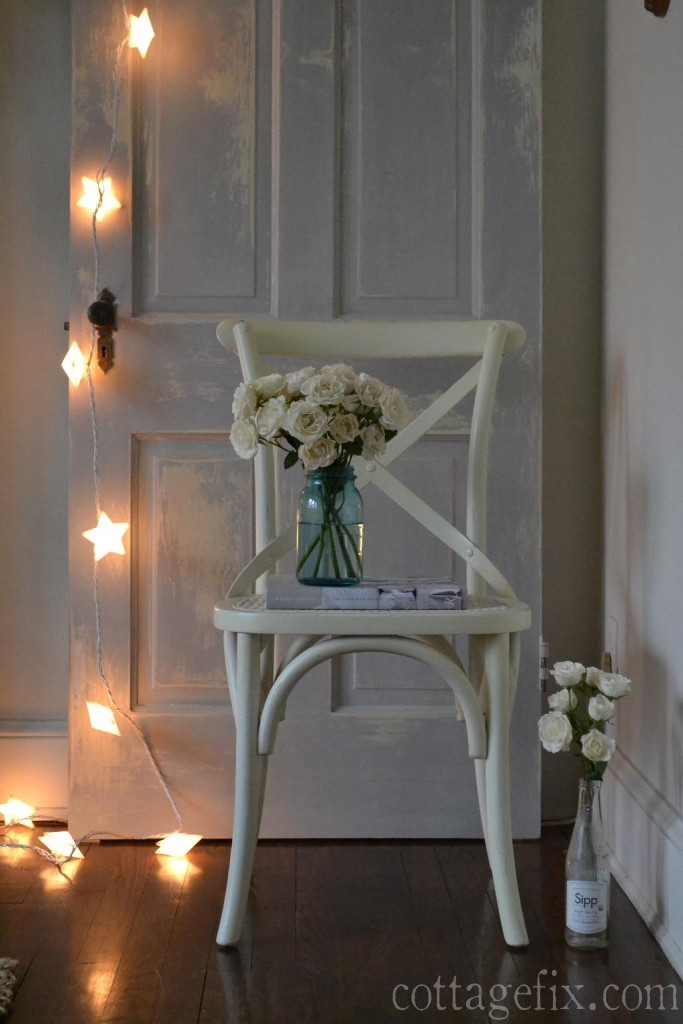 Cottage Fix blog - white spray roses and star lights