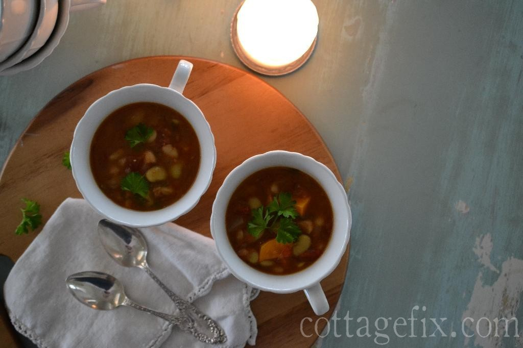 Cottage Fix blog - rustic vegetable and bean soup