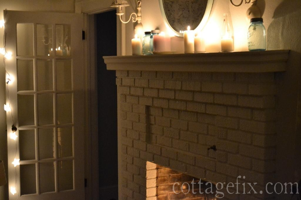 Cottage Fix blog - candles on the mantle