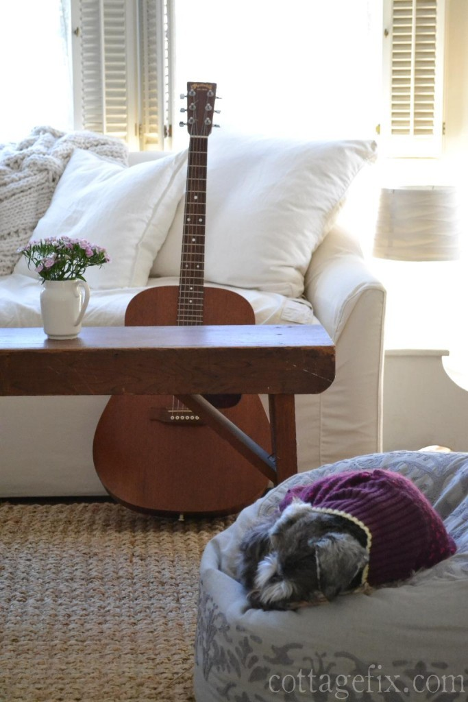 Cottage Fix blog - white sofa, guitar, and puppy