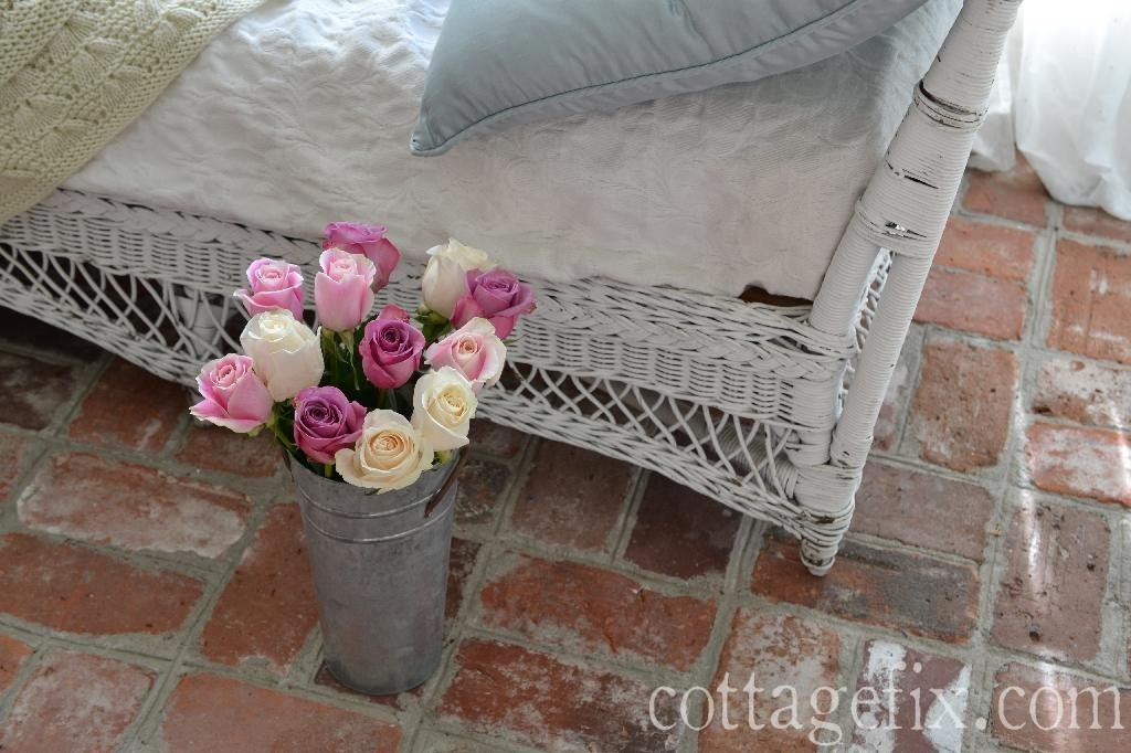 Cottage Fix blog - brick floors and rainbow pastel roses