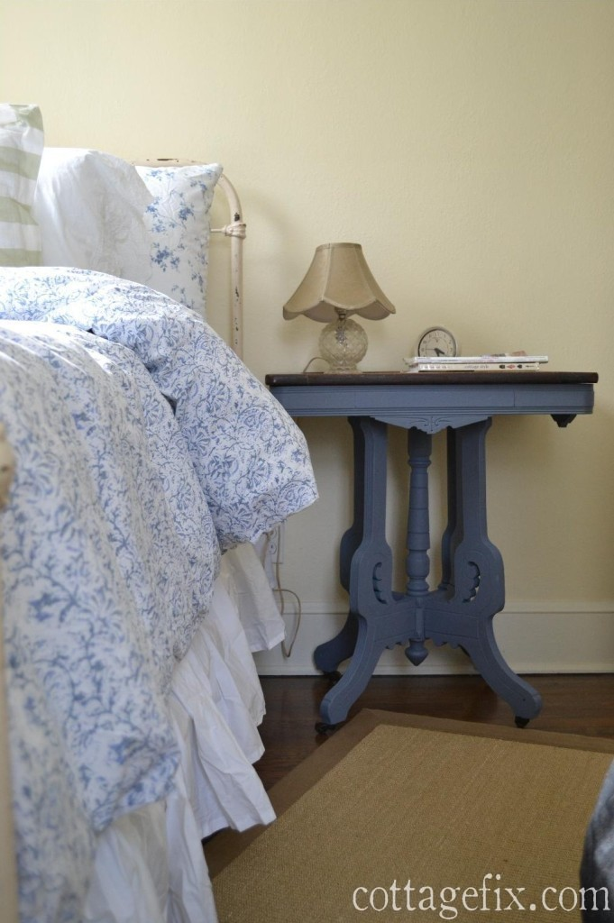 Cottage Fix blog - shabby chic bedding and Annie Sloan chalk paint side table in Old Violet