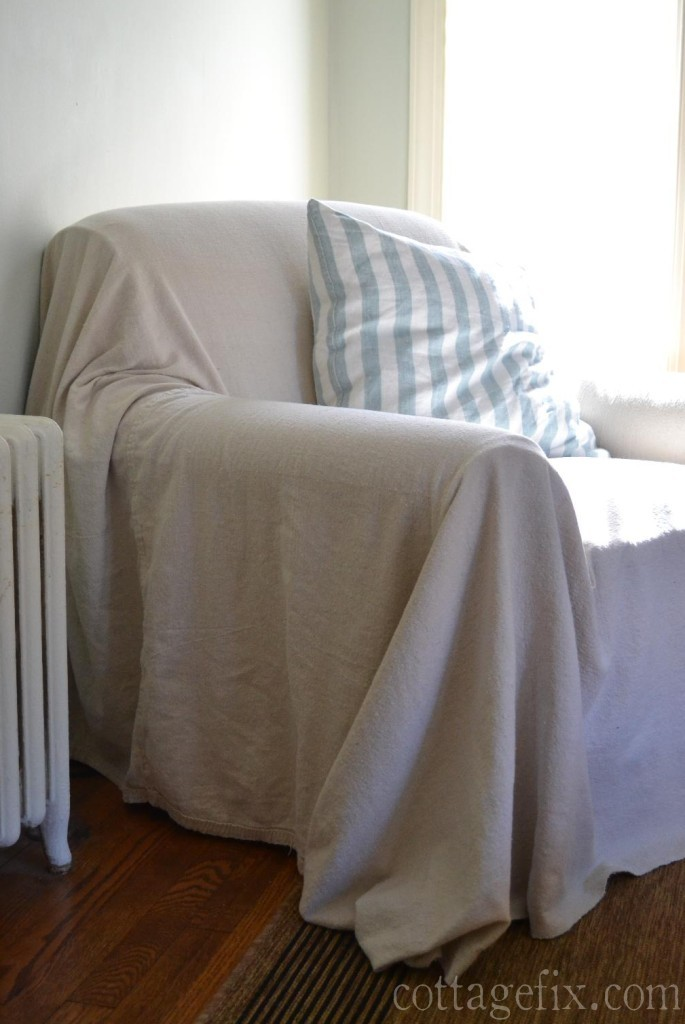 Cottage Fix blog - floppy drop cloth chair cover