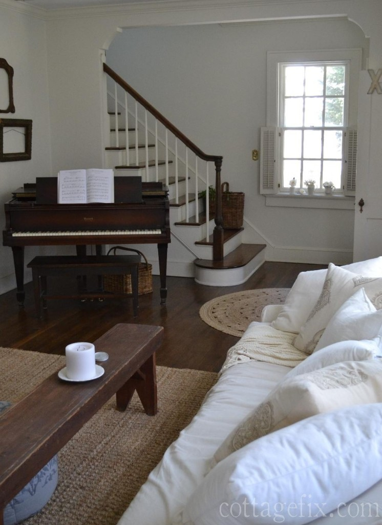 Cottage Fix blog - living room and stairwell painted white