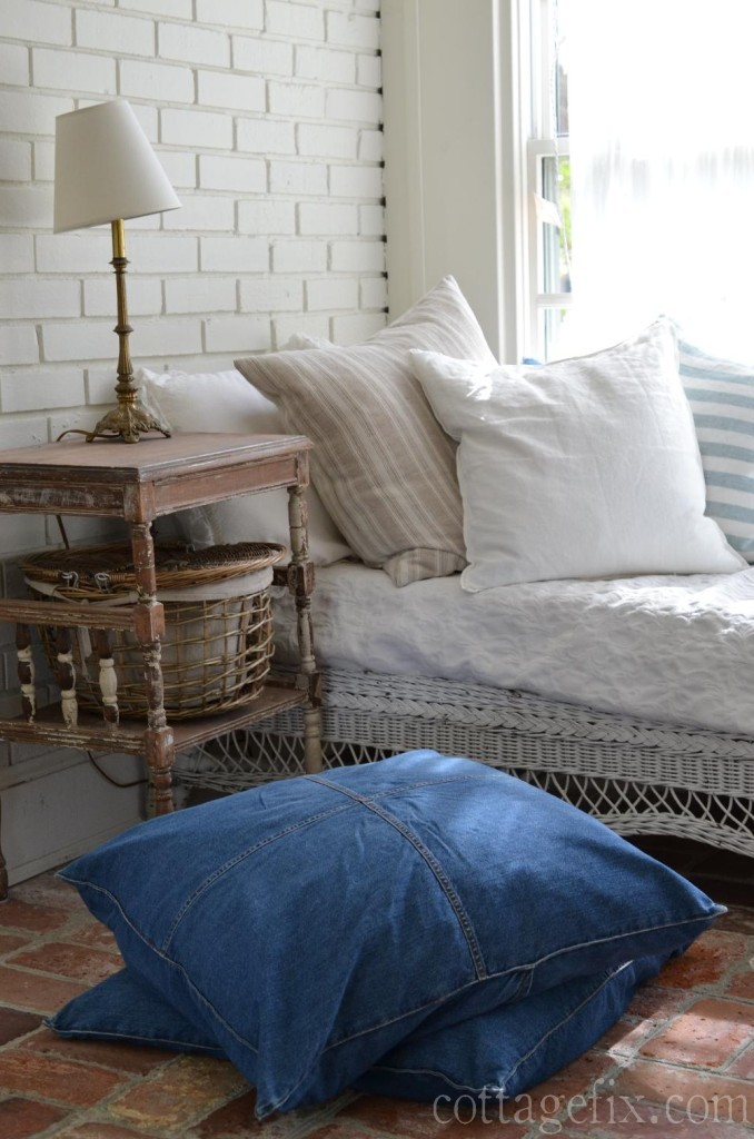 Cottage Fix blog - denim, stripes, whites, and a picnic basket on the sun porch