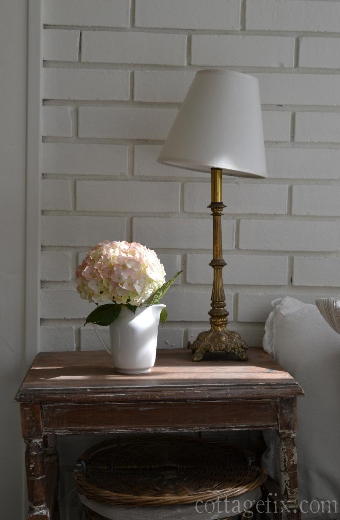Cottage Fix blog - pale pink hydrangea and sun light
