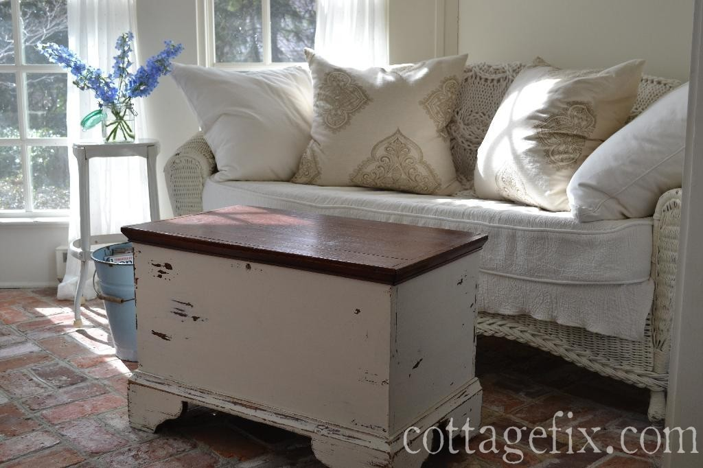 Cottage Fix blog - chippy paint trunk and squishy pillows