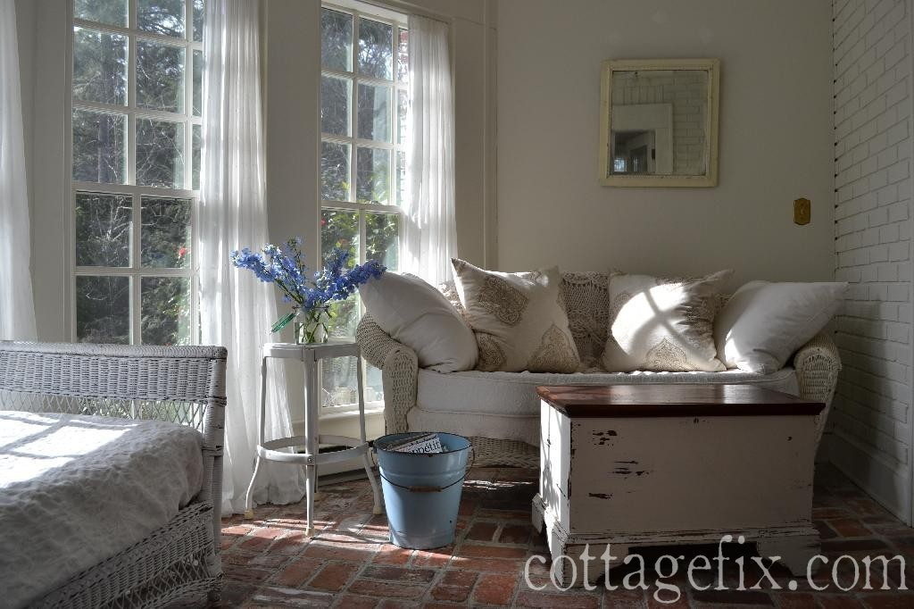 Cottage Fix blog - white wicker and blue delphinium