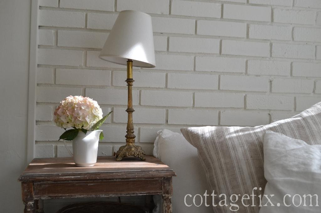 Cottage Fix blog - pink hydrangea and soft pillows