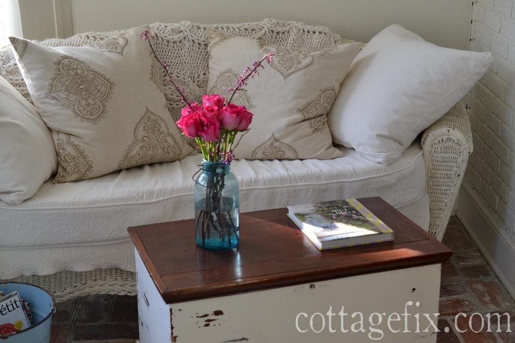 Cottage Fix blog - pink roses, wicker, and squishy pillows
