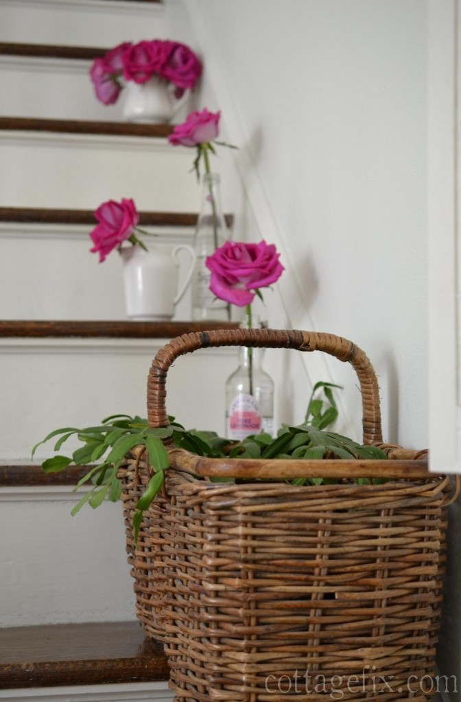Cottage Fix blog - stair basket with roses