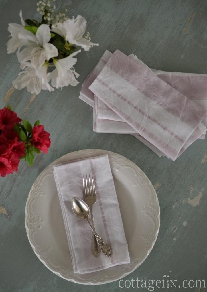 Cottage Fix blog - shabby chic water color striped napkins