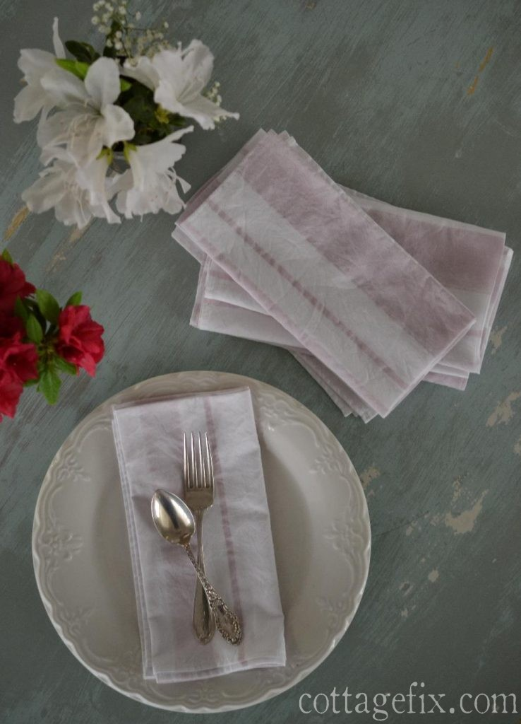 Cottage Fix blog - shabby chic watercolor striped napkins
