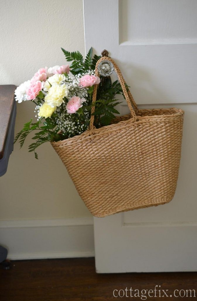 Cottage Fix blog - Friday flowers - pale carnation bouquet in a straw tote