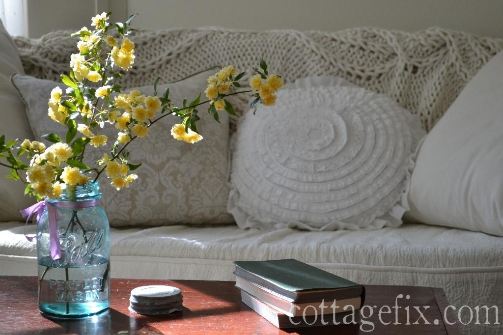 Cottage Fix blog - shabby chic pillows and lady banks blooms
