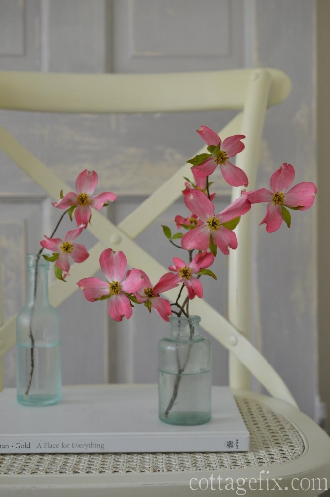 Cottage Fix blog - sea glass vintage bottles and dogwood blooms