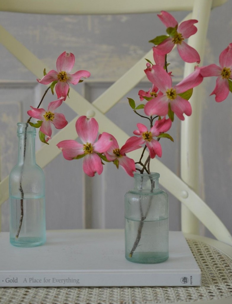 Cottage Fix blog - sea glass vintage bottle and pink dogwood blooms