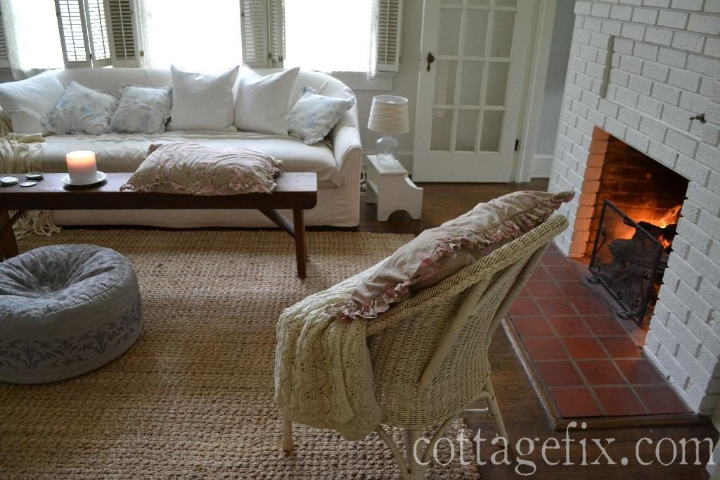 Cottage Fix blog - Simply Shabby Chic pillows in the living room