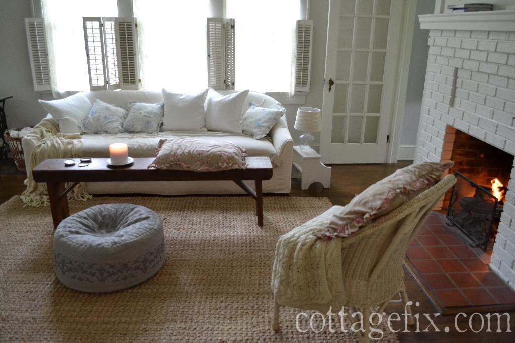 Cottage Fix blog - shabby chic living room with whites, gray, and a touch of pink