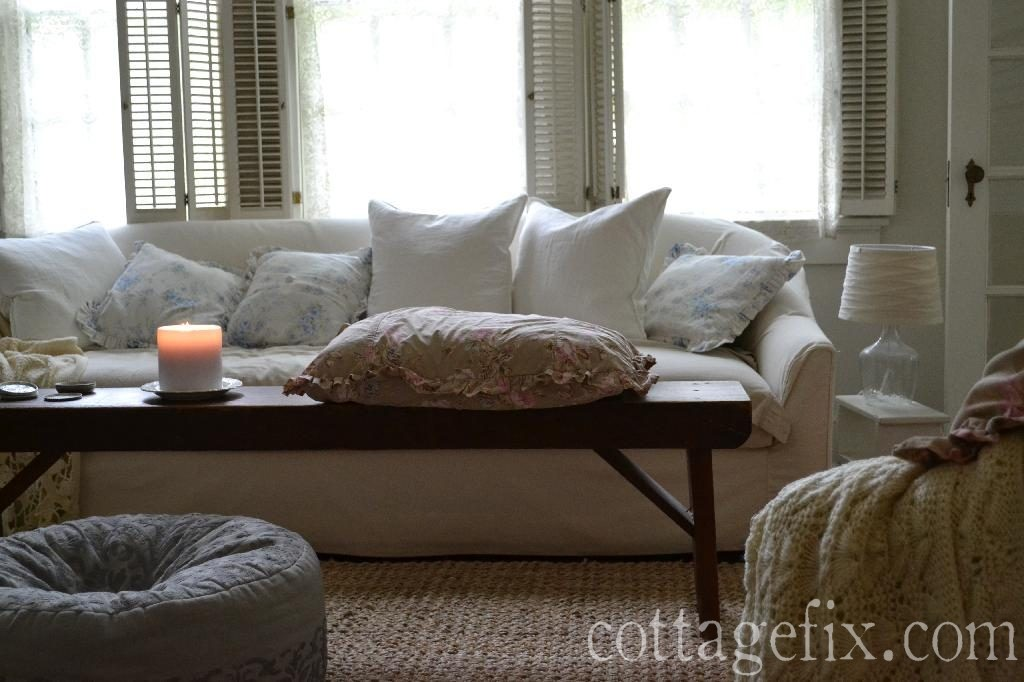 Cottage Fix blog - shabby chic living room pillows
