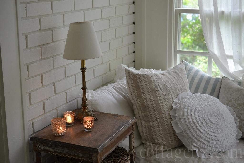Cottage Fix blog - candlelight and pillows
