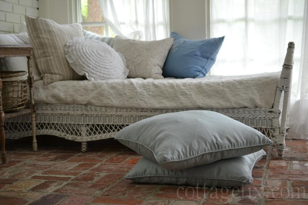 Cottage Fix blog - pillows on the sun porch