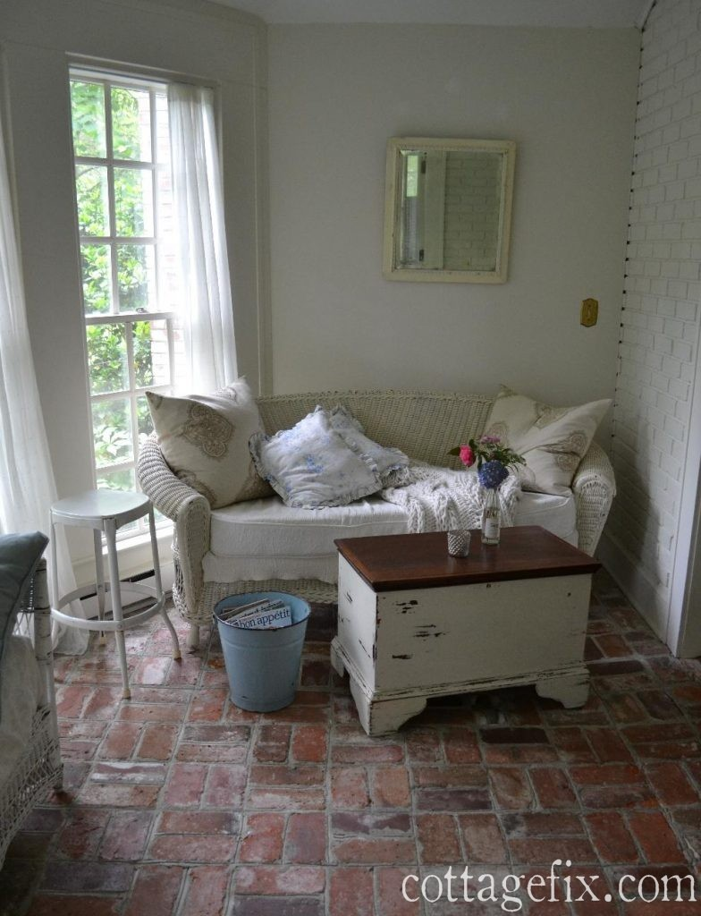 Cottage Fix blog - shabby chic sun porch and flowers from the garden