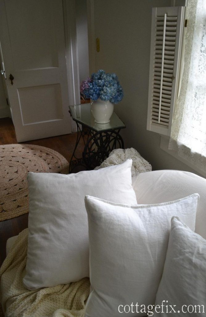 Cottage Fix blog - linen pillows and hydrangeas form the garden