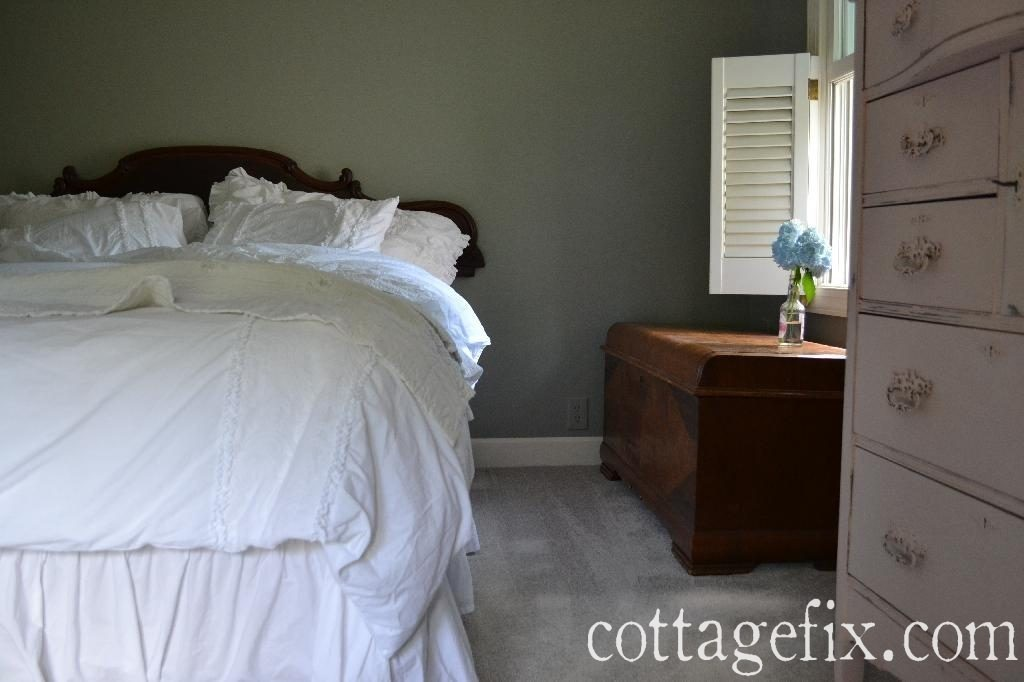 Cottage Fix blog - shabby chic white fluffy bedding