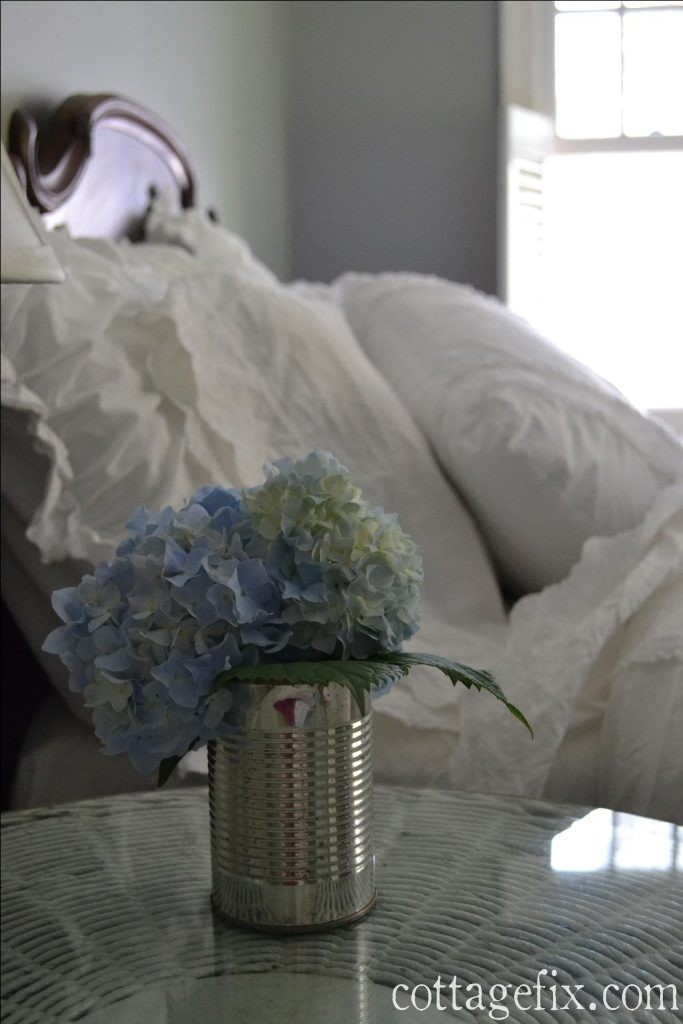 Cottage Fix blog - hydrangea and fluffy white bedding