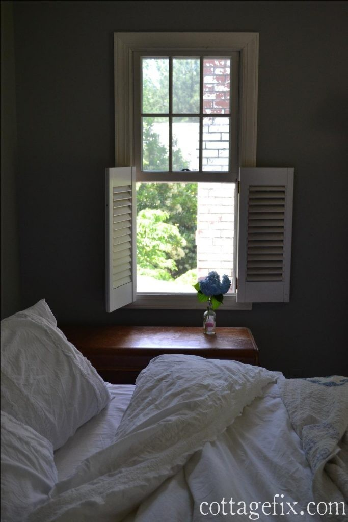 Cottage Fix blog - shabby chic white bedding and shutters