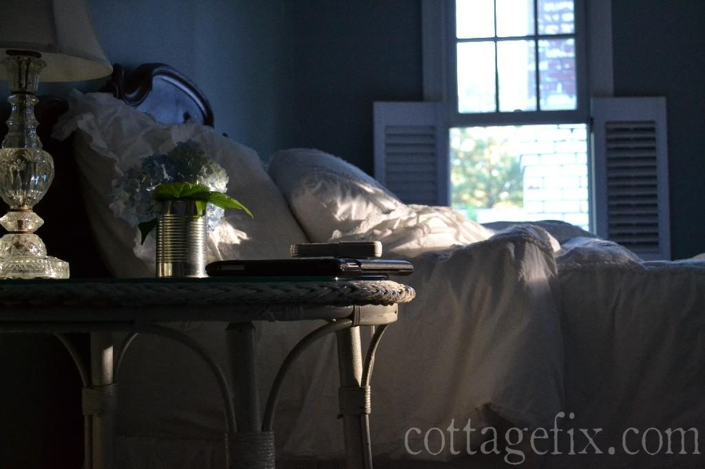 Cottage Fix blog - soft evening light in our bedroom