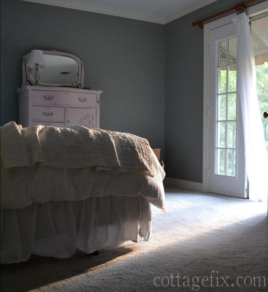Cottage Fix blog - evening light shining in the cottage bedroom