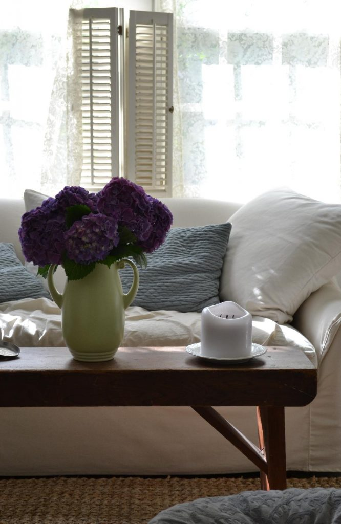 Cottage Fix blog - purple hydrangeas in the cottage living room