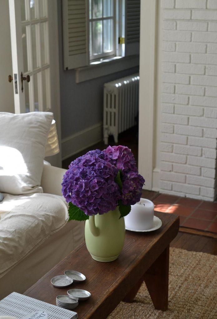 Cottage Fix blog - purple hydrangeas on a farm bench