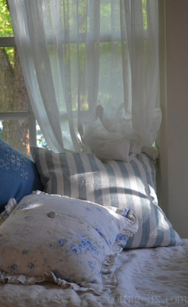Cottage Fix blog - shabby chic pillows and evening light