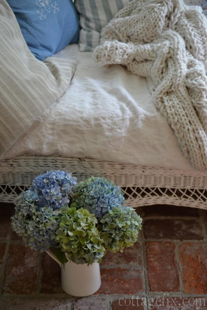 Cottage Fix blog - blue and green hydrangeas from the garden