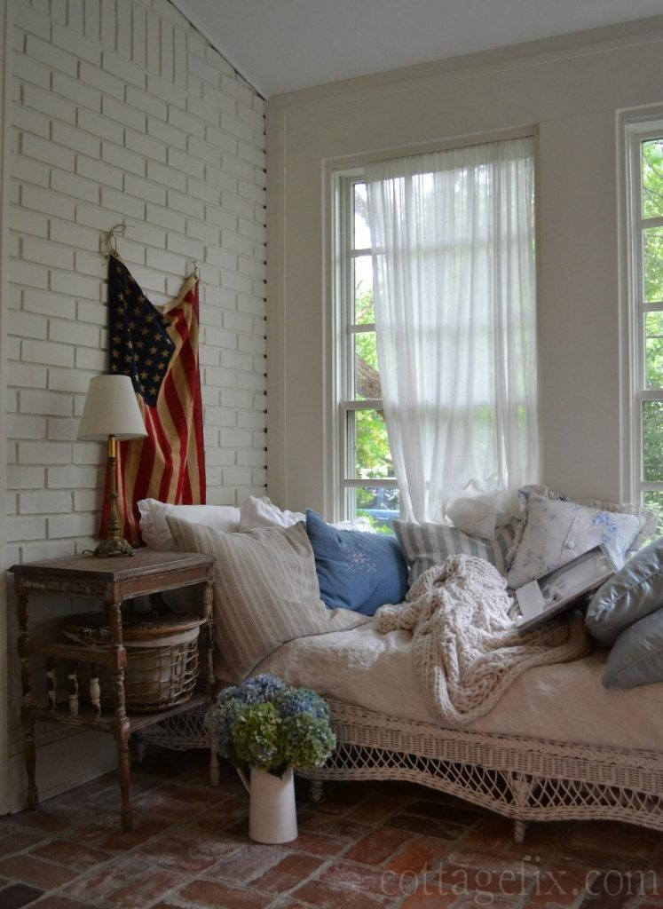 Cottage Fix blog - decorating the sun porch with hydrangeas from the garden and the flag